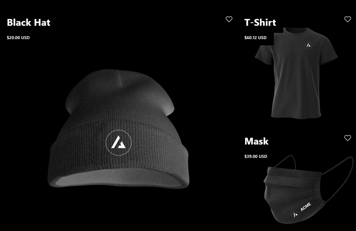 Next.js Commerce black merchandise on agilitycms.com