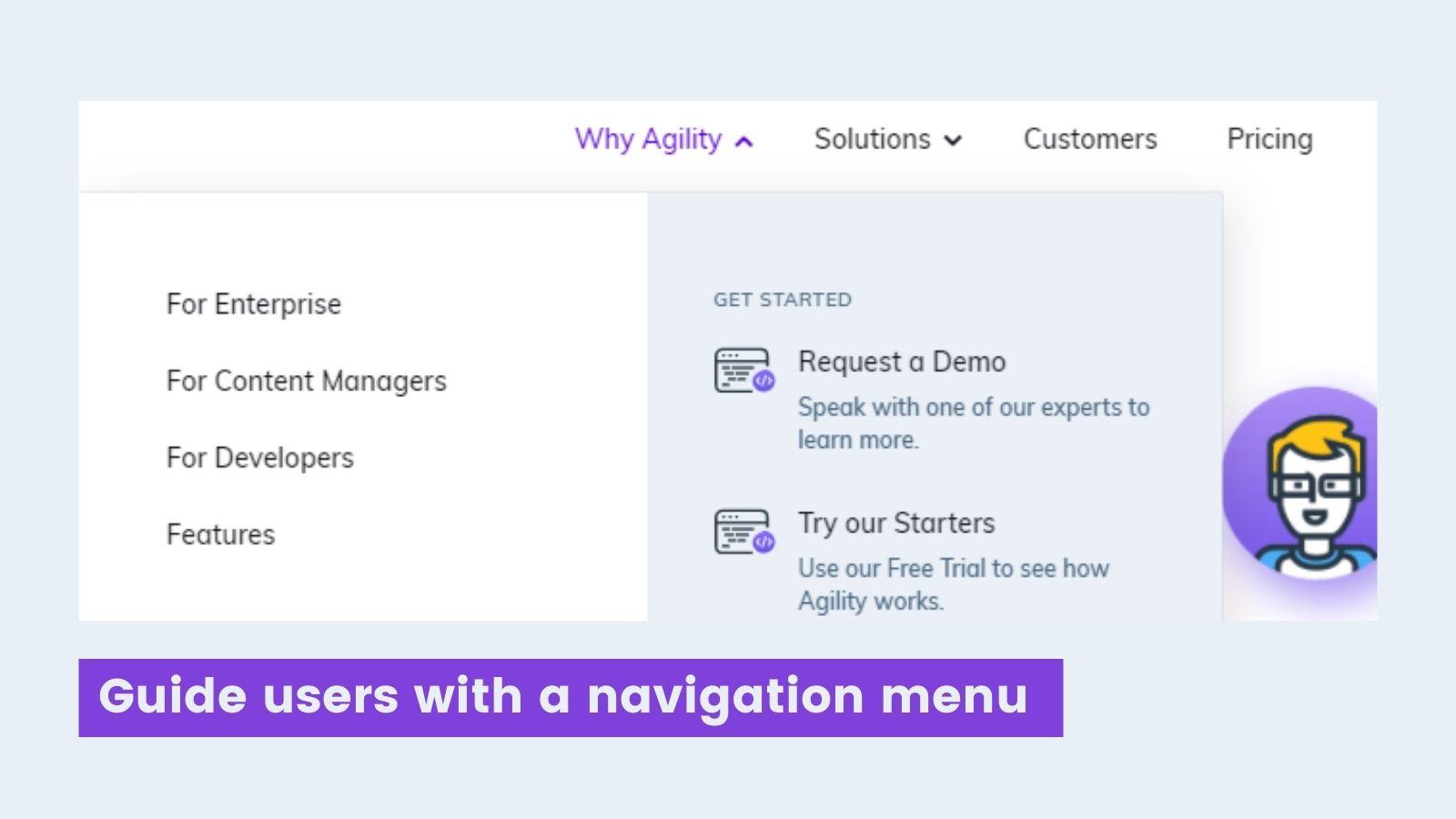 Agility CMS navigational menu screenshot
