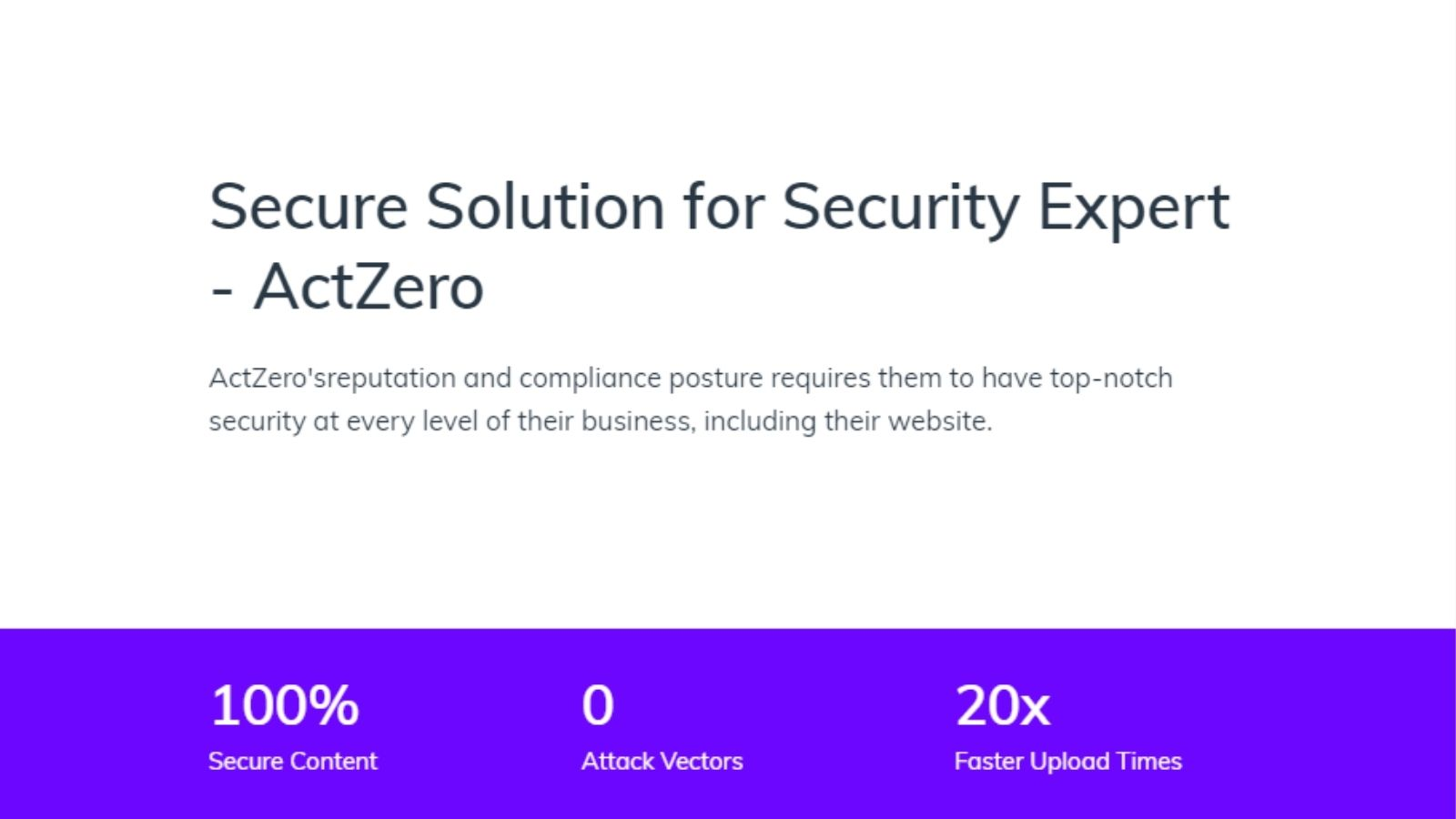 Secure Solution for Security Expert - ActZero