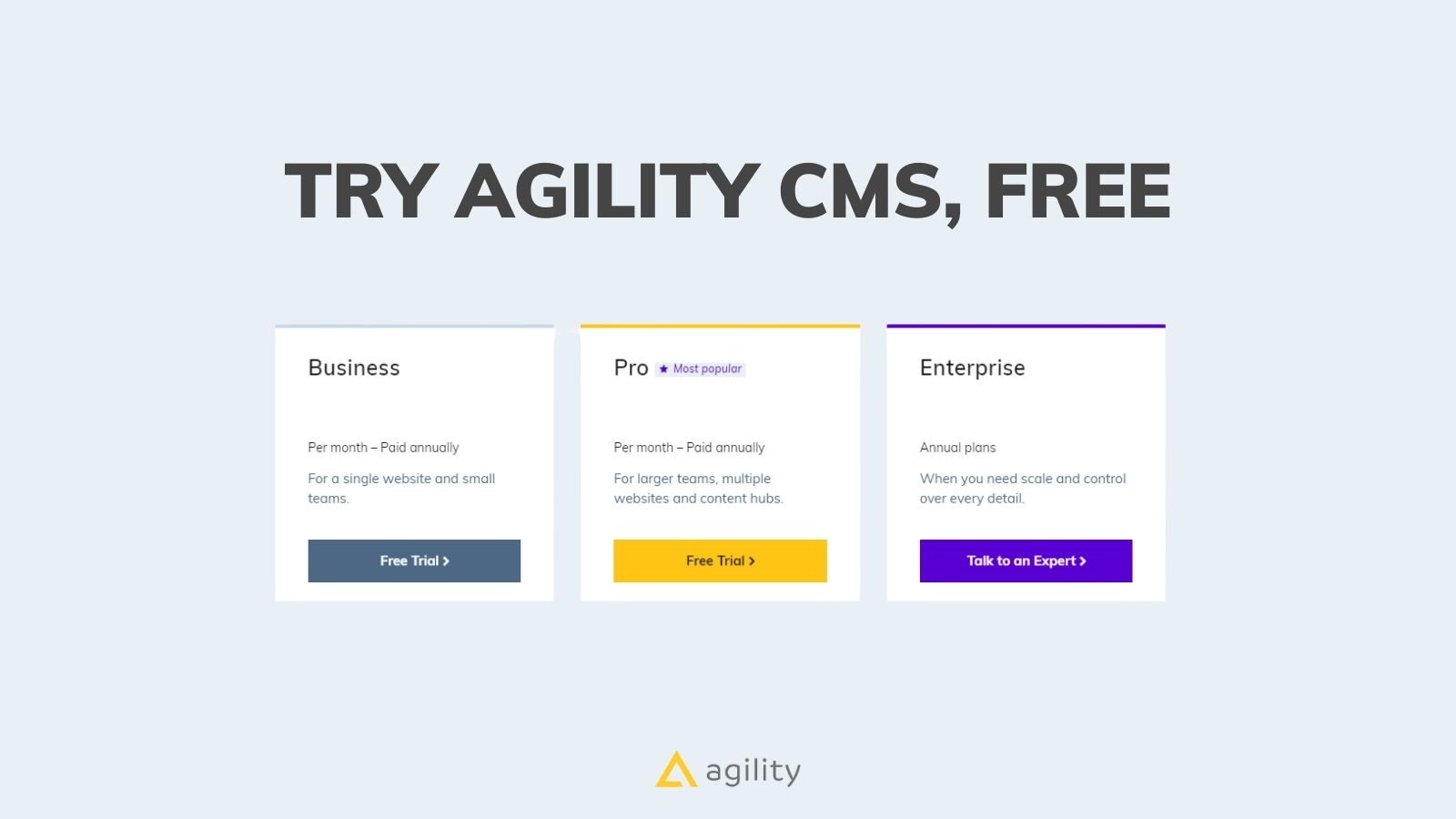 Try Agility CMS for free!