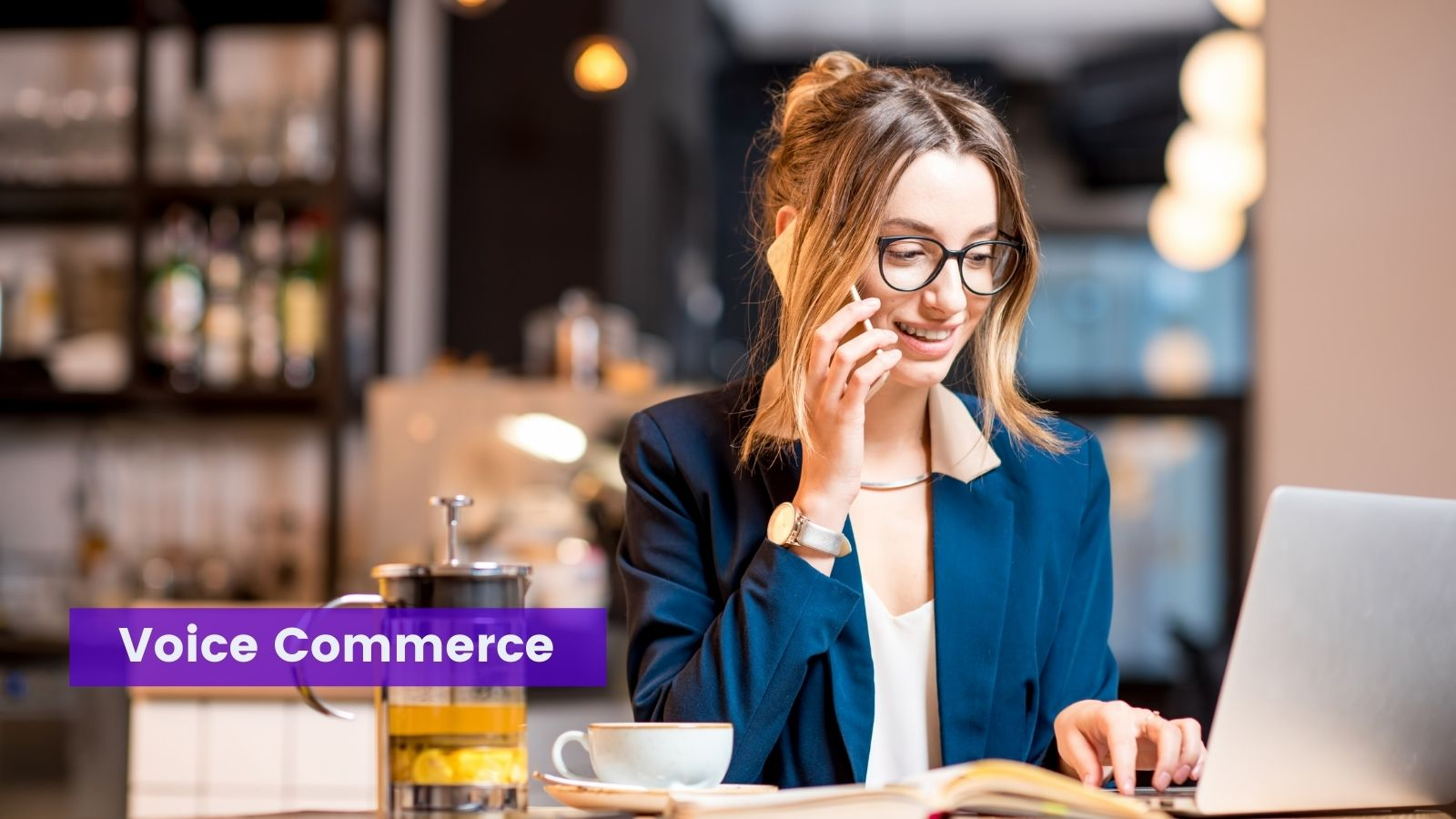 Woman using voice commerce on agilitycms.com
