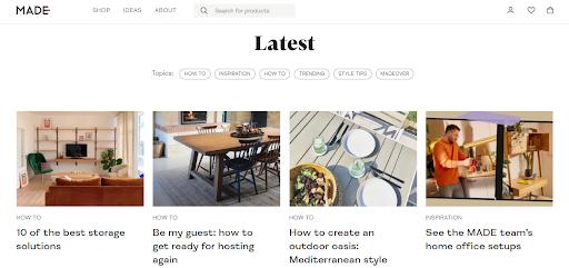 Home retailer, MADE.com  active blog