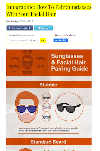 Infographic how to pair sunglasses with your facial hair