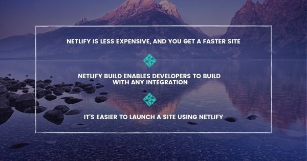Netlify is cost-effective and easy to launch with Agility