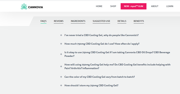 Cannovia FAQ page