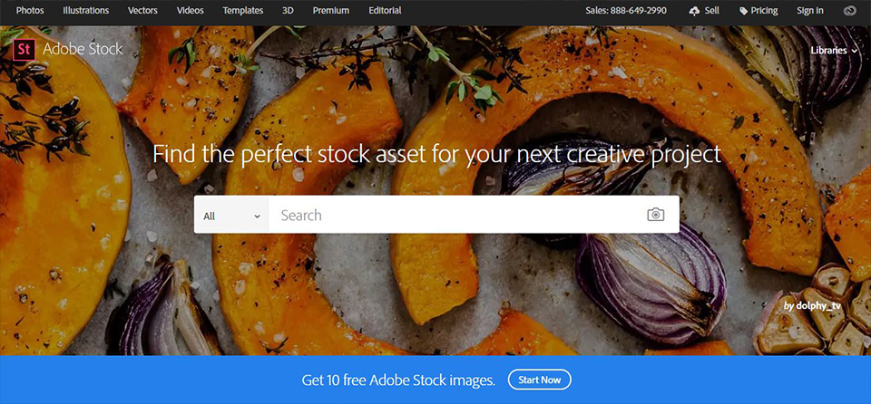 Adobe Paid Stock Image Home Page