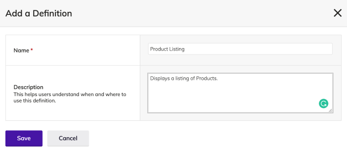 Product Listing Module Definition