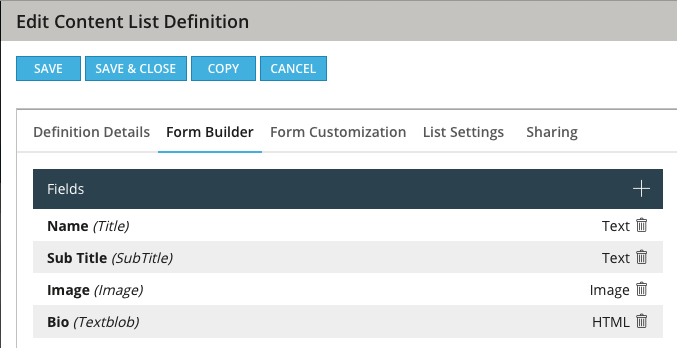 Content Definition Fields on Author Type
