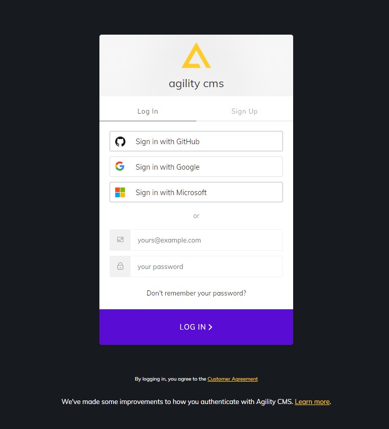 Single sign-on Agility CMS
