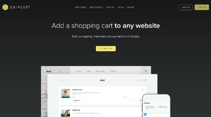 Snipcart for website dashboard